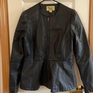 Black faux leather zip front jacket